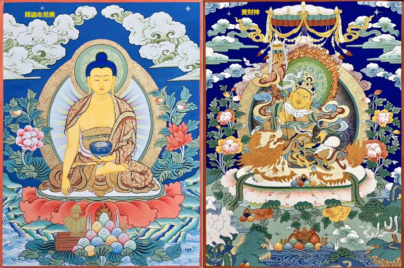 释迦牟尼佛和黄财神唐卡